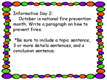 October Common Core Writing Unit