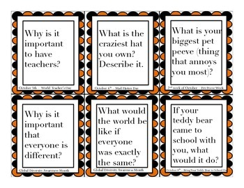 October Conversation Questions for Social Skills and Writing