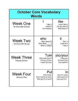 October Core Vocabulary Activities