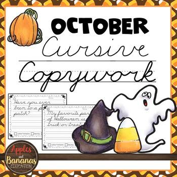 October Cursive Copywork Handwriting Practice