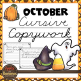 October Cursive Copywork Handwriting Practice