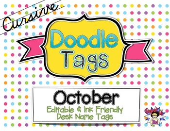 October Cursive Doodle Tags - Ink Friendly Editable Desk Name Tags