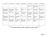 October Daily Activity Calendar for Families