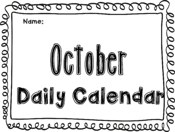 October Daily Calendar Activity Journal