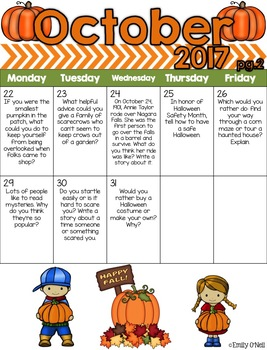 October Intermediate Daily Journal Prompts