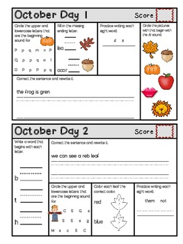 October Daily Language Arts, Grammar, and Phonics - 1st Grade