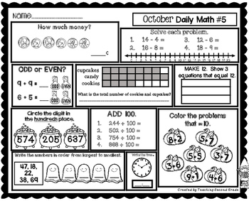 October Daily Math (2nd Grade) - Use for morning, homework or independent work