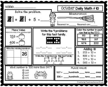 October Morning Work | Daily Math