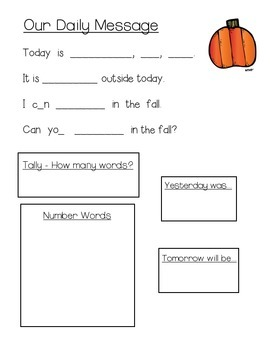 October Daily Messages for Kindergarten