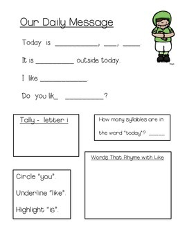 October Daily Messages for Kindergarten