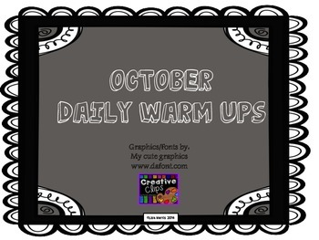 October Daily Warm Ups for Kindergarten