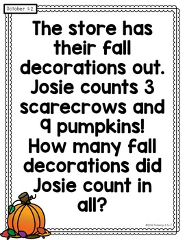 October Daily Word Problems {First Grade}