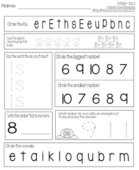 October Daily Work for Kindergarten Common Core (And More!)