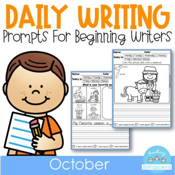 October Daily Writing Journal Prompts for Beginning Writers