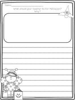 October Writing Prompts on Differentiated Themed Paper