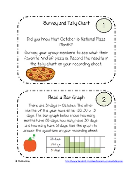 """""""October"""" Data Collection and Graphing Task Cards"""
