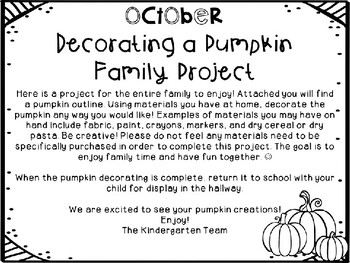 October Decorating a Pumpkin Family Project