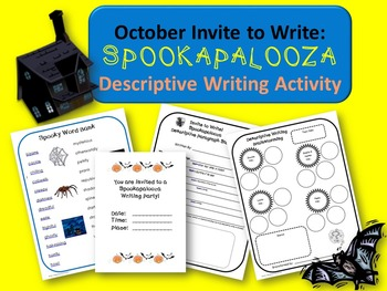 October (Halloween) Descriptive Writing Activity:  Spookapalooza Invite to Write