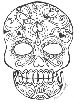 Sugar Skull Coloring Worksheets Teaching Resources Tpt
