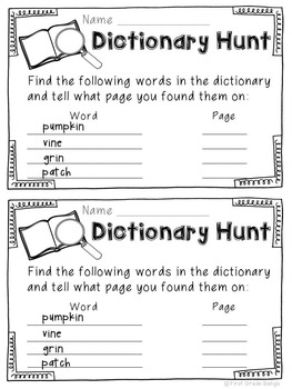 Dictionary Hunts for Literacy Centers- October