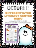 October Differentiated Literacy Center Word Work Menu (Com