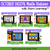 October Digital Math Stations l Task Cards | Boom Cards™
