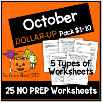 October Dollar-Up Pack $1-10 for Student's with Special Needs and Autism
