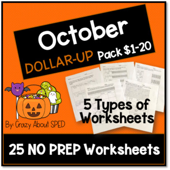 October Dollar-Up Pack $1-20 for Student's with Special Needs and Autism
