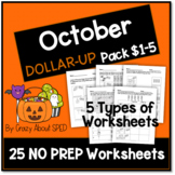 Dollar-Up Pack $1-5 October- Life Skills Money Math for Special Education