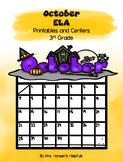 October ELA Printables and Centers Grade 3