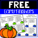 Early Finishers! October! {FREEBIE}