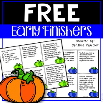 Early Finishers Task Card Activities for October {FREEBIE}