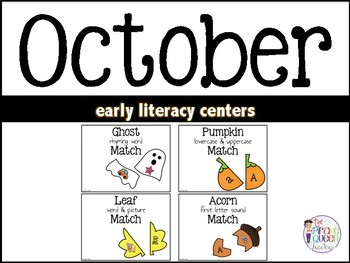 October Early Literacy Centers: Word Work Centers for Kindergarten