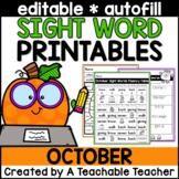October Editable Sight Word Printables