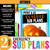 October Emergency Sub Plans for 2nd grade: Activities & Re