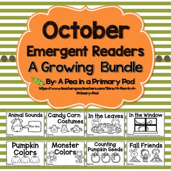 October Emergent Readers and Response Activities Growing Bundle