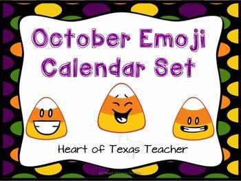 October Emoji Calendar Set