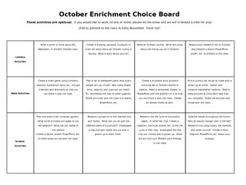 Editable October Homework Enrichment Choice Board