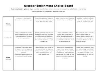 Editable October Homework Enrichment Choice Board