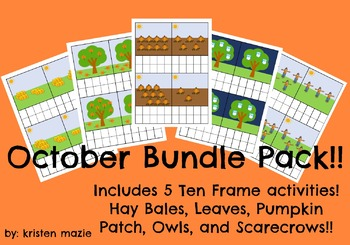 October FALL BUNDLE PACK Ten Frame Counting Activities