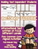 October FREEBIE: Bats Closed Reading Leveled Passage: Google Slides™ & PDF
