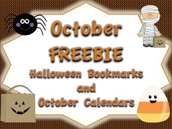 October FREEBIE: Halloween Bookmarks and October Calendar