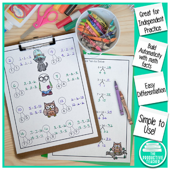 Addition and Subtraction Math Facts Worksheets: October