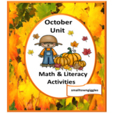 October Kindergarten Cut and Paste Unit Fine Motor Skills Bundle