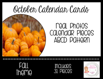 October Fall Calendar Cards-Real Photos