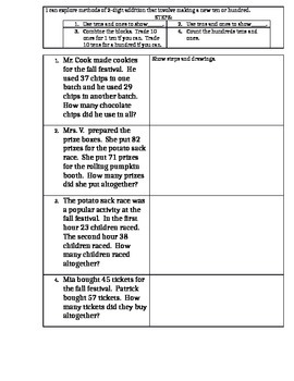 October Halloween Fall Festival Word Problems 2 digit regrouping