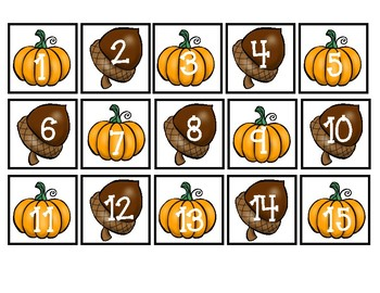 October Fall Mini Pocket Chart Calendar Set