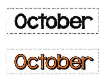 October Fall Themed Patterned Calendar Cards- Melonheadz Style