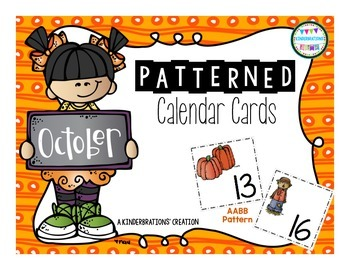 October Fall Themed Patterned Calendar Cards- Melonheadz Style