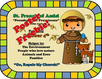 October Feast Day Catholic Saint Poster - Saint Francis of Assisi